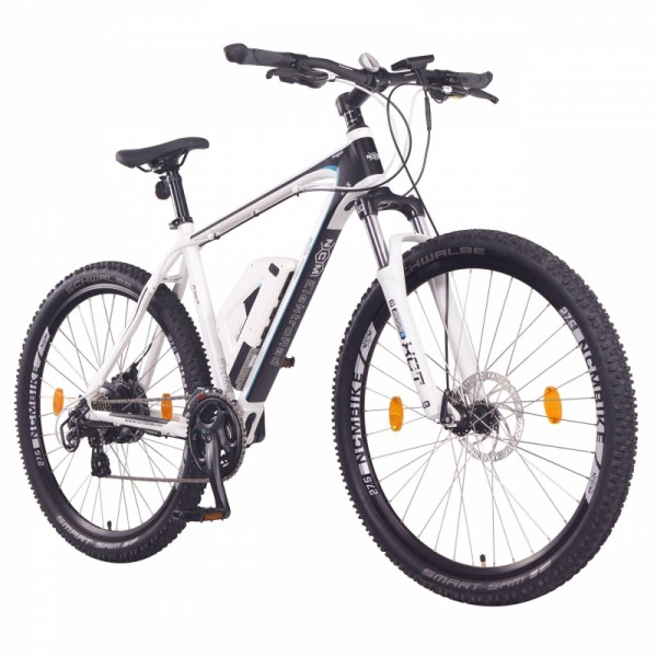 """NCM Prague 27,5"""" E-Bike, Mountainbike, 36V 13Ah 468Wh Akku, matt weiß, schwarz"""