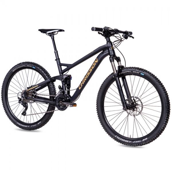 """CHRISSON STORMER 27,5"""" Mountainbike 30 Gang Shimano Deore schwarz gold matt"""