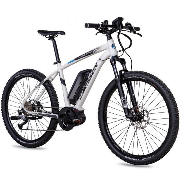 CHRISSON E-MOUNTER 1.0 9 Gang BOSCH Gen3 Powerpack400 27,5 Zoll E-Mountainbike weiß matt