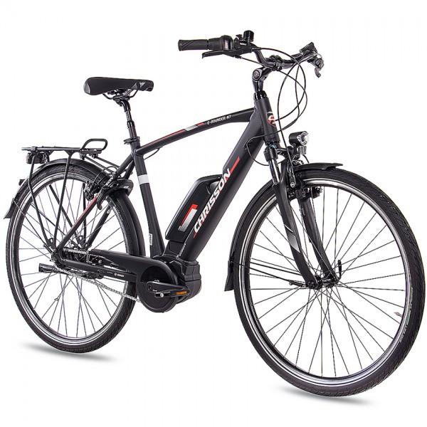 CHRISSON E-ROUNDER 7 Gang 28 Zoll E-Citybike Herrenrad schwarz