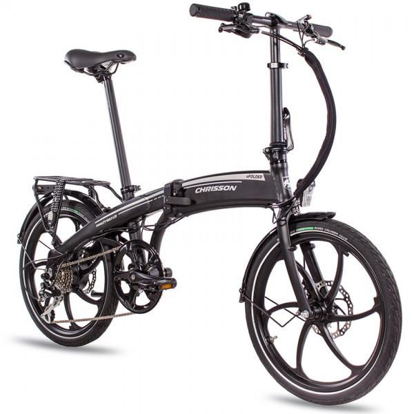 CHRISSON eFolder mit 8G ACERA DISK & AIKEMA 10Ah 20 Zoll Pedelec E-Bike E-Faltrad Klapprad schwarz m
