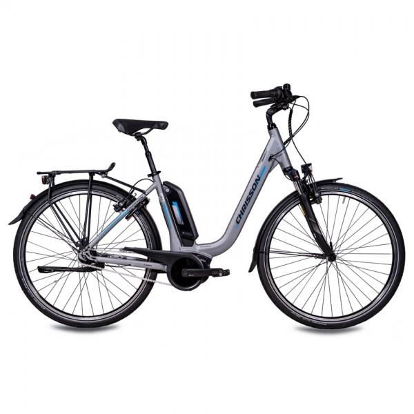 CHRISSON E-CASSIOPEA 7 Gang Shimano Nexus BOSCH Active Line 400Wh 28 Zoll E-Citybike Damen grau