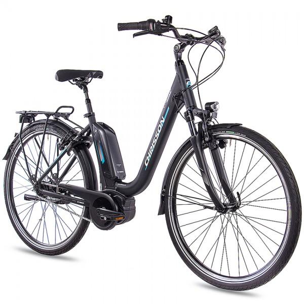 CHRISSON E-CASSIOPEA 28 Zoll E-Citybike Damenrad schwarz matt