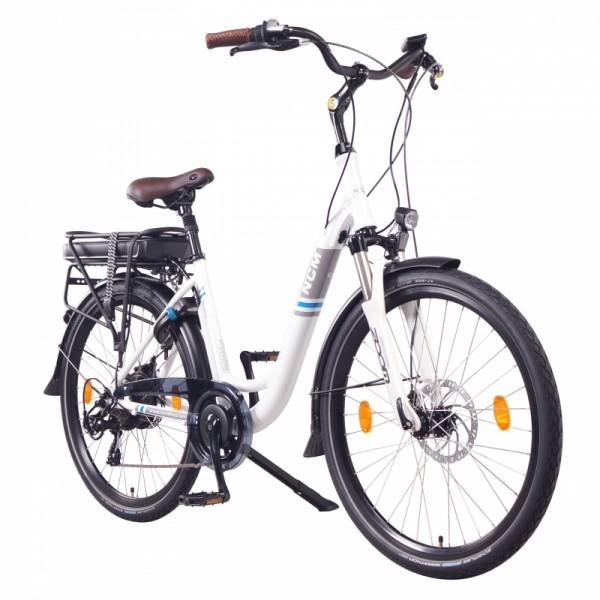 """NCM Munich 26"""" E-Bike, Citybike, 36V 13Ah 468Wh Akku, weiß"""