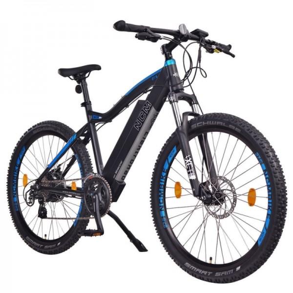 "NCM Moscow 27,5"" E-MTB,Mountainbike,E-Bike,48V 13Ah 624Wh Akku, matt schwarz,blau"