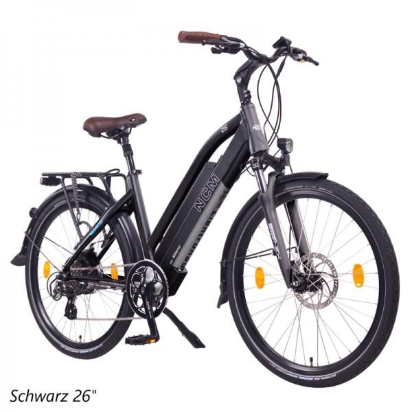 """NCM Milano 26""""-28"""" E-Bike, Urban Trekkingbike, 48V 13Ah 624Wh Akku, schwarz"""