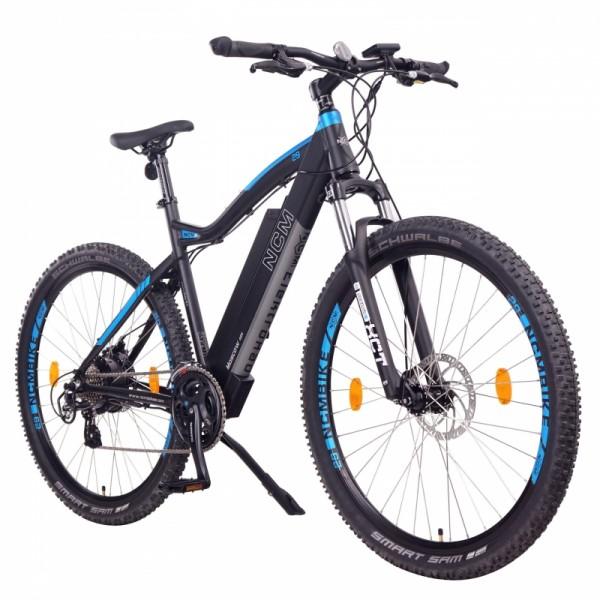 "NCM Moscow 48V 29"" E-MTB, Mountainbike, E-Bike, 13Ah 624Wh Akku, matt schwarz, blau"