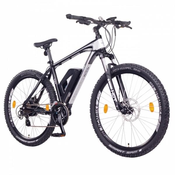 """NCM Prague 27,5"""" E-Bike, Mountainbike, 36V 13Ah 468Wh Akku, matt schwarz, silber"""