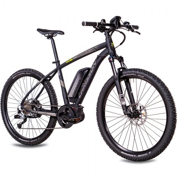 CHRISSON E-MOUNTER 1.0 9 Gang BOSCH Gen3 Powerpack400 27,5 Zoll E-Mountainbike in 52cm, schwarz matt