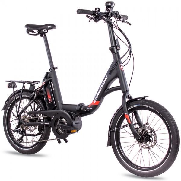 CHRISSON E-Bike Faltrad 20 Zoll Bosch Mittelmotor+Akku Schwarz mit 9 Gang Shimano Sora