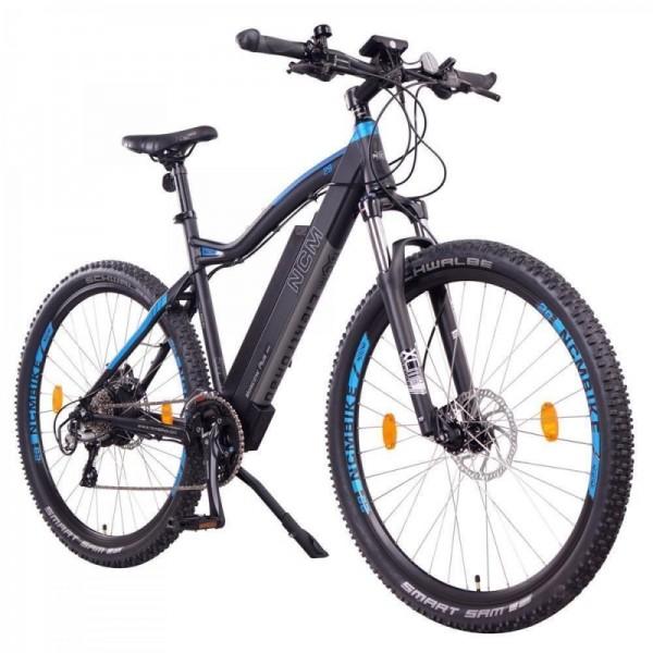 "NCM Moscow Plus 29"" E-Bike, Mountainbike, 48V 16Ah 768Wh Akku, matt schwarz, blau"